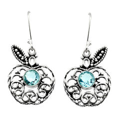 Clearance Sale- 2.55cts natural blue topaz 925 silver dangle apple charm earrings jewelry d40808