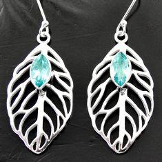 5.50cts natural blue topaz 925 silver dangle deltoid leaf earrings d40014