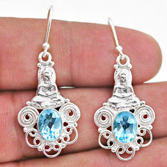 4.02cts natural blue topaz 925 sterling silver buddha charm earrings t47033
