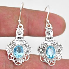 4.22cts natural blue topaz 925 sterling silver buddha charm earrings t47067