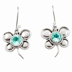 2.44cts natural blue topaz 925 sterling silver butterfly earrings jewelry d45801