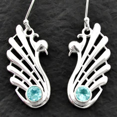 Clearance Sale- 2.01cts natural blue topaz 925 sterling silver dangle earrings jewelry d39994