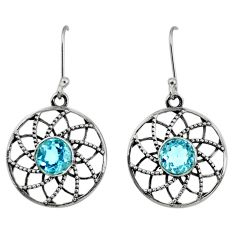 4.73cts natural blue topaz 925 sterling silver dangle earrings jewelry d40133