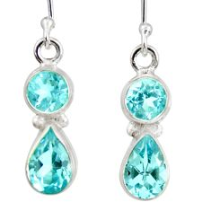 Clearance Sale- 5.80cts natural blue topaz 925 sterling silver dangle earrings jewelry d40243