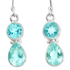 7.33cts natural blue topaz 925 sterling silver dangle earrings jewelry d40250