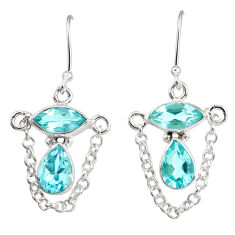 Clearance Sale- 7.33cts natural blue topaz 925 sterling silver dangle earrings jewelry d40252