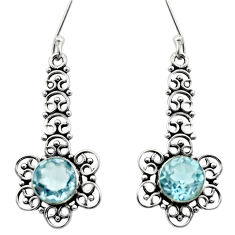 Clearance Sale- 2.33cts natural blue topaz 925 sterling silver dangle earrings jewelry d40803