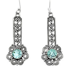 Clearance Sale- 2.73cts natural blue topaz 925 sterling silver dangle earrings jewelry d40805