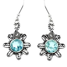 2.13cts natural blue topaz 925 sterling silver dangle earrings jewelry d40809