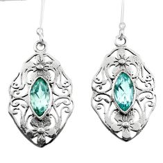 5.16cts natural blue topaz 925 sterling silver dangle earrings jewelry d45729