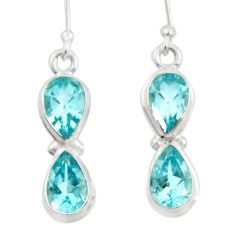 7.89cts natural blue topaz 925 sterling silver dangle earrings jewelry d45765
