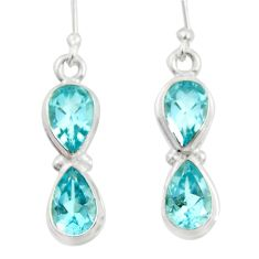 7.54cts natural blue topaz 925 sterling silver dangle earrings jewelry d45766
