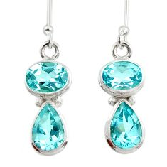 6.70cts natural blue topaz 925 sterling silver dangle earrings jewelry d45767