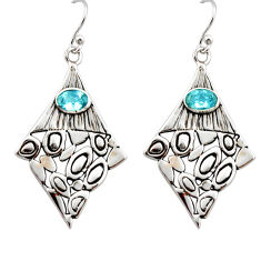 3.35cts natural blue topaz 925 sterling silver dangle earrings jewelry r32960