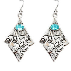 3.16cts natural blue topaz 925 sterling silver dangle earrings jewelry r32980