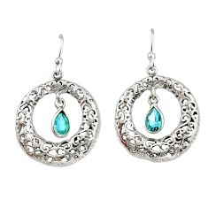 2.25cts natural blue topaz 925 sterling silver dangle earrings jewelry r33058