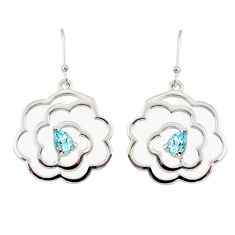 2.41cts natural blue topaz 925 sterling silver dangle earrings jewelry r36732