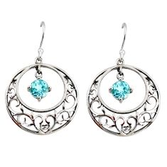2.35cts natural blue topaz 925 sterling silver dangle earrings jewelry r36798