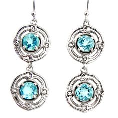 5.27cts natural blue topaz 925 sterling silver dangle earrings jewelry r36830