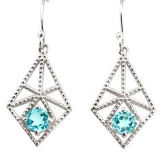2.47cts natural blue topaz 925 sterling silver dangle earrings jewelry r36862