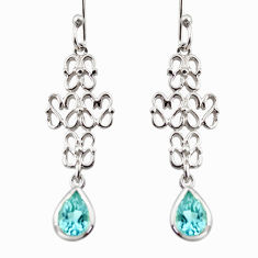 3.39cts natural blue topaz 925 sterling silver dangle earrings jewelry r36888