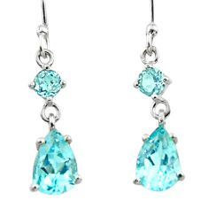 5.21cts natural blue topaz 925 sterling silver dangle earrings jewelry r45382
