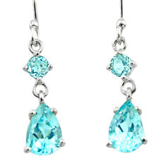 4.93cts natural blue topaz 925 sterling silver dangle earrings jewelry r45384