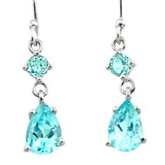5.02cts natural blue topaz 925 sterling silver dangle earrings jewelry r45392