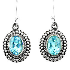 4.31cts natural blue topaz 925 sterling silver dangle earrings jewelry r53982