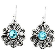 1.49cts natural blue topaz 925 sterling silver dangle earrings jewelry r54001
