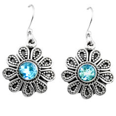 1.47cts natural blue topaz 925 sterling silver dangle earrings jewelry r54003