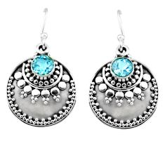 1.64cts natural blue topaz 925 sterling silver dangle earrings jewelry r54021