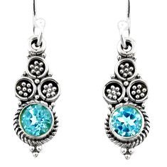 1.34cts natural blue topaz 925 sterling silver dangle earrings jewelry r54041
