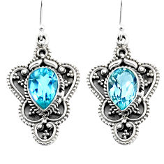 5.12cts natural blue topaz 925 sterling silver dangle earrings jewelry r54082