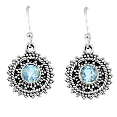 1.74cts natural blue topaz 925 sterling silver dangle earrings jewelry r55201
