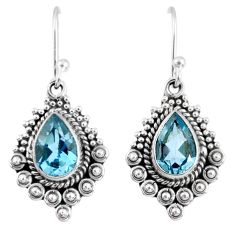 4.68cts natural blue topaz 925 sterling silver dangle earrings jewelry r55301