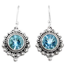 5.38cts natural blue topaz 925 sterling silver dangle earrings jewelry r55302