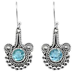 2.58cts natural blue topaz 925 sterling silver dangle earrings jewelry r55321