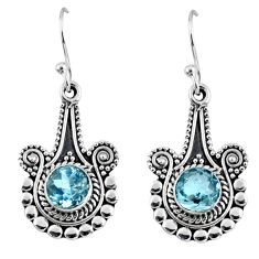 2.30cts natural blue topaz 925 sterling silver dangle earrings jewelry r55322