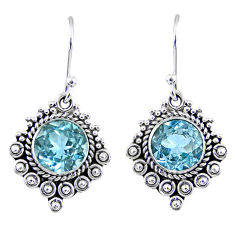 5.06cts natural blue topaz 925 sterling silver dangle earrings jewelry r55323