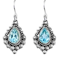 4.46cts natural blue topaz 925 sterling silver dangle earrings jewelry r55325