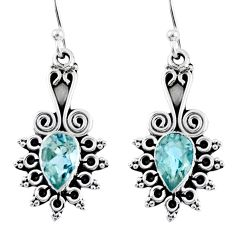 4.22cts natural blue topaz 925 sterling silver dangle earrings jewelry r55326