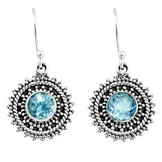 2.09cts natural blue topaz 925 sterling silver dangle earrings jewelry r55328