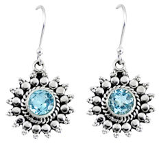 1.96cts natural blue topaz 925 sterling silver dangle earrings jewelry r55329