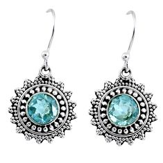 1.96cts natural blue topaz 925 sterling silver dangle earrings jewelry r55341