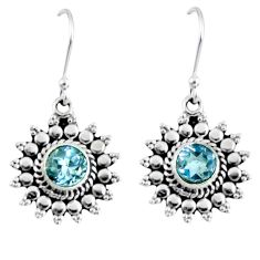 1.91cts natural blue topaz 925 sterling silver dangle earrings jewelry r55342