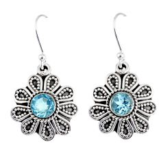 1.81cts natural blue topaz 925 sterling silver dangle earrings jewelry r55343