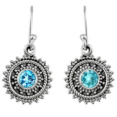 1.81cts natural blue topaz 925 sterling silver dangle earrings jewelry r59507
