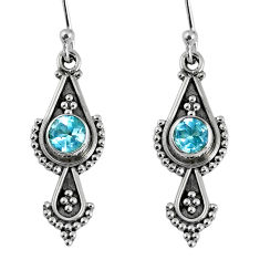 1.62cts natural blue topaz 925 sterling silver dangle earrings jewelry r59526