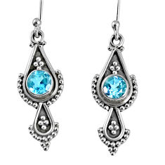 1.30cts natural blue topaz 925 sterling silver dangle earrings jewelry r59547